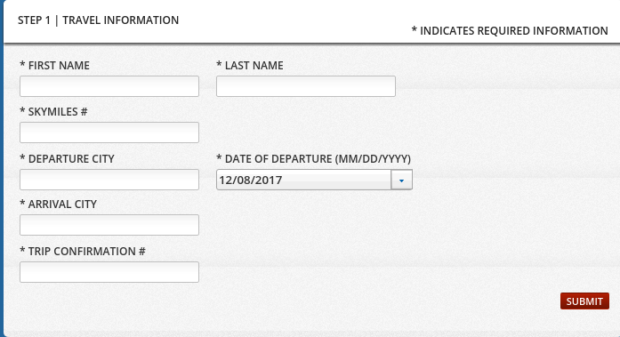 Delta Baggage Guarantee Submission Form